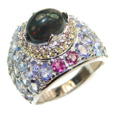 Vintage Style Black Opal .925 Sterling Silver handmade Cocktail Ring s. 8