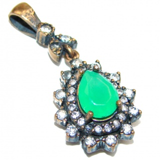 Vintage Beauty created Emerald .925 Sterling Silver handmade Huge Pendant