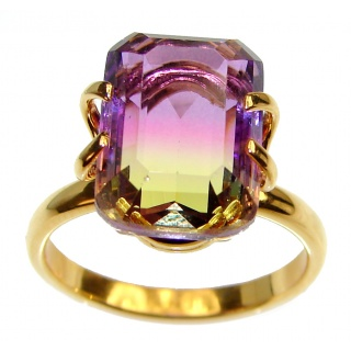 HUGE emerald cut Ametrine .925 Sterling Silver handcrafted Ring s. 7 3/4