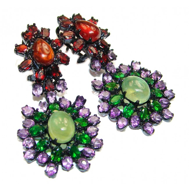 Cleopatra Authentic Prehnite Black rhodium over .925 Sterling Silver handmade earrings