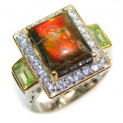 Outstanding Genuine Canadian Ammolite 18K Gold over .925 Sterling Silver handmade ring size 5 3/4