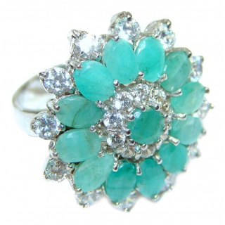 Ravishing Green HUGE Emerald .925 Sterling Silver handcrafted Statement Ring size 7 1/4