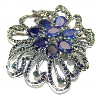 Real Vintage style Beauty Natural Sapphire black rhodium over .925 Sterling Silver Pendant Brooch