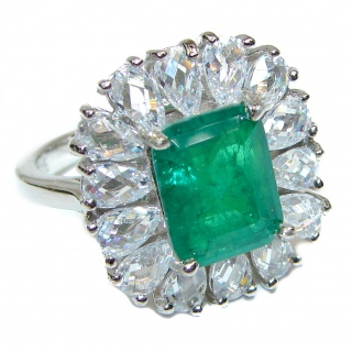 Spectacular Emerald White Topaz .925 Sterling Silver handmade Ring size 7