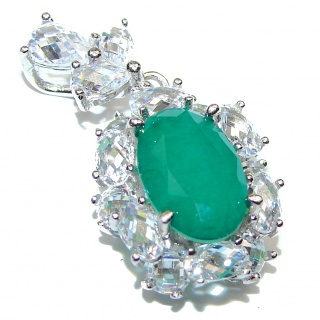 Vintage Beauty Emerald .925 Sterling Silver handmade Huge Pendant