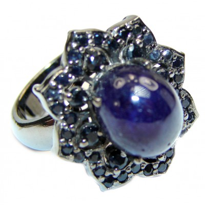 Large Vintage Design Natural Sapphire black rhodium over .925 Sterling Silver handcrafted Ring s. 7 3/4