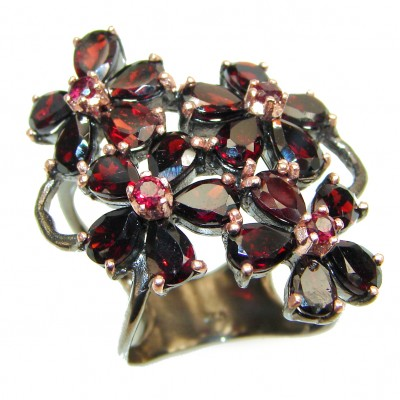Rose Garden Authentic Garnet black rhodium over .925 Sterling Silver brilliantly handcrafted ring s. 7 1/4