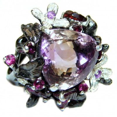 Enchanted Forest 45ctw Ametrine .925 Sterling Silver handcrafted LARGE Ring s. 6 1/4