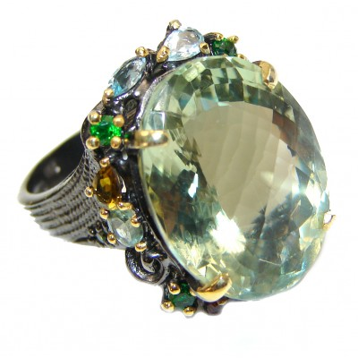 Authentic green Amethyst black rhodium .925 Sterling Silver handmade Ring size 7