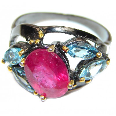 Perfect 7 ctw Ruby .925 Sterling Silver handcrafted Statement Ring size 7 3/4