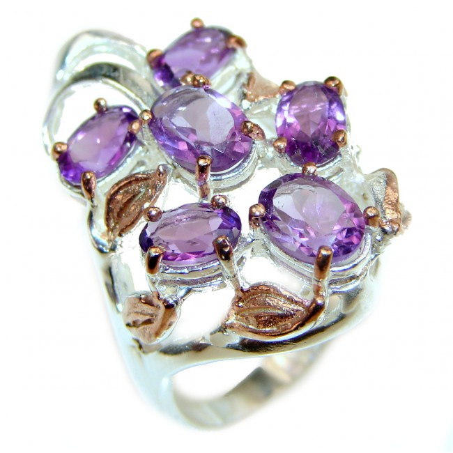 Purple Perfection Amethyst 2 tones .925 Sterling Silver Ring size 7 3/4
