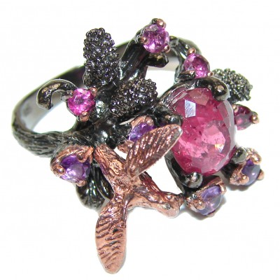 Golden hummingbird Ruby .925 Sterling Silver handcrafted Statement Ring size 7 1/2