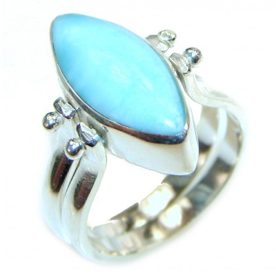 Reversible Larimar - Baltic Amber .925 Sterling Silver handcrafted Ring s. 7 1/2