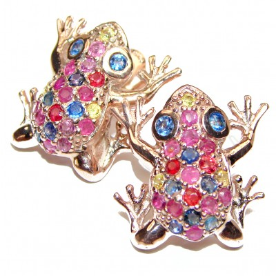 Frogs Sapphire Ruby Rose Gold over .925 Sterling Silver handcrafted earrings