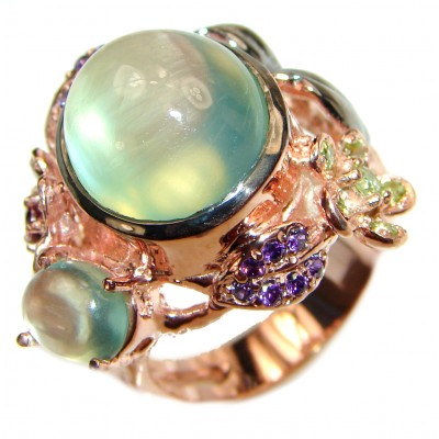 Ravishing Green HUGE Prehnite Rose Gold over .925 Sterling Silver handcrafted Statement Ring size 9