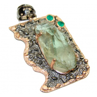 Huge Rough Green Amethyst 14K Gold Rhodium over .925 Sterling Silver Pendant