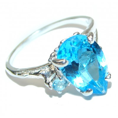 Genuine Swiss Blue Topaz Sapphire .925 Sterling Silver handcrafted Statement Ring size 6 1/4