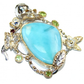 Best quality Authentic Caribbean Larimar 14K Gold over .925 Sterling Silver handmade pendant