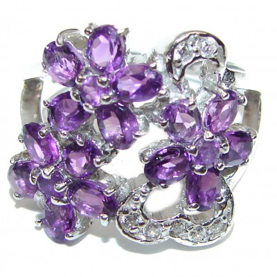 Purple Garden Amethyst .925 Sterling Silver Statement Ring s. 7 3/4
