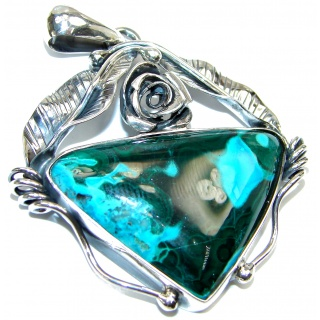 Beautiful Large Victorian style Chrysocolla .925 Sterling Silver Pendant