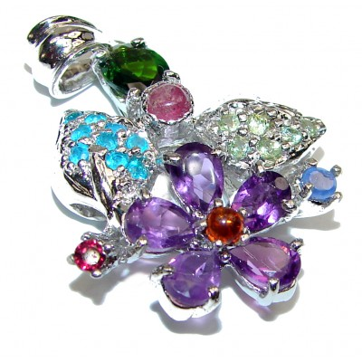 Perfect Flower Amethyst Ruby .925 Sterling Silver handmade pendant