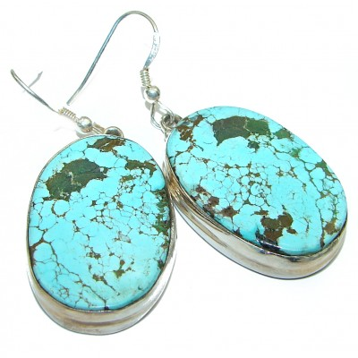 HUGE Bohemian Style Solid Turquoise .925 Sterling Silver earrings