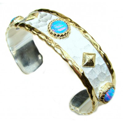 Bracelet with doublet Opal 24K Gold .925 Sterling Silver in Antique White Patina