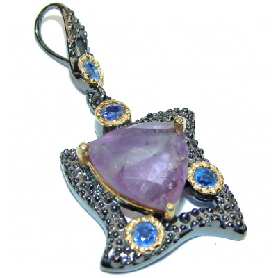 Perfect Amethyst Kyanite .925 Sterling Silver handmade pendant