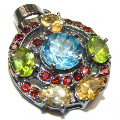 Fancy Swiss Blue Topaz .925 Sterling Silver handmade pendant