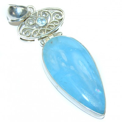 Genuine Aquamarine .925 Sterling Silver handcrafted Pendant