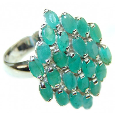 Vanessa Genuine Emerald .925 Sterling Silver handcrafted Statement Ring size 9