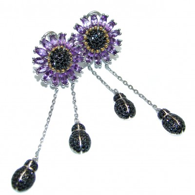 Valentina African Amethyst .925 Sterling Silver handcrafted earrings