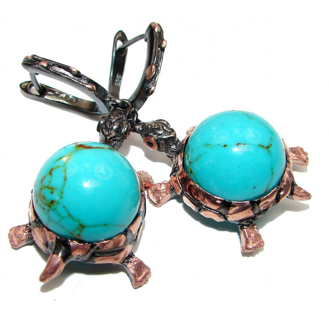 Blue Turtles Beauty Turquoise .925 Sterling Silver handcrafted LARGE Earrings