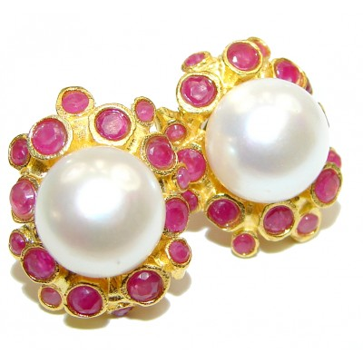 Real Beauty Ruby Pearl .925 Sterling Silver handmade Earrings
