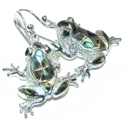 Lucky Frogs Rainbow Abalone .925 Sterling Silver handcrafted earrings