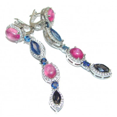 Incredible quality Ruby Sapphire .925 Sterling Silver handcrafted earrings