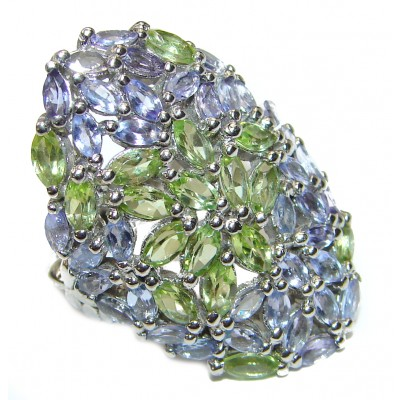 Fancy Genuine Tanzanite Peridot .925 Sterling Silver handcrafted Statement Ring size 8