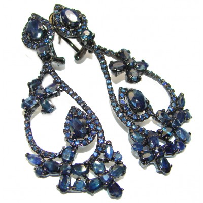 Victorian Style Sapphire black rhodium over .925 Sterling Silver handcrafted long earrings