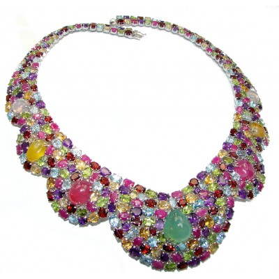 Jewel of the Nile authentic Multigem .925 Sterling Silver handcrafted Necklace