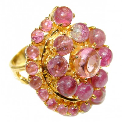 Dolce Vita Genuine Watermelon Tourmaline rose gold over .925 Sterling Silver handcrafted Statement Ring size 8