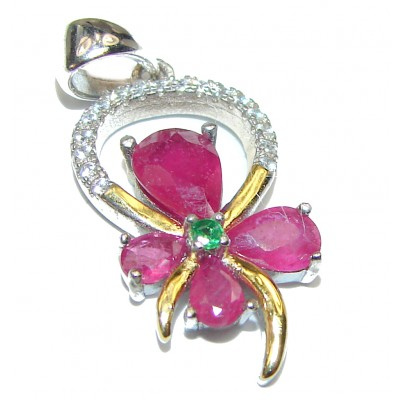 Perfect Flower Ruby .925 Sterling Silver handmade pendant