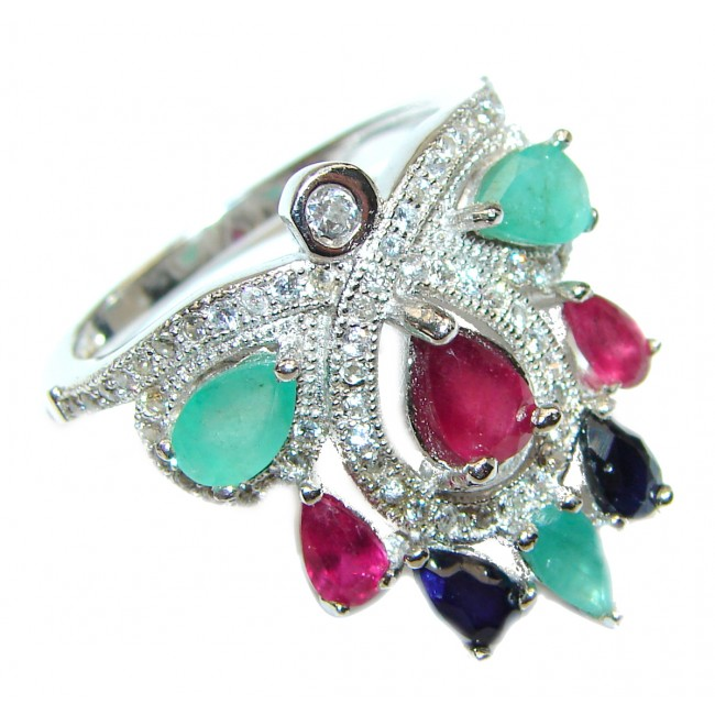 Genuine Ruby .925 Sterling Silver handcrafted Statement Large Ring size 8