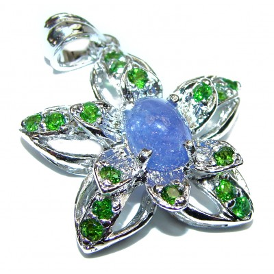 Perfect genuine Tanzanite Chrome Diopside .925 Sterling Silver handmade Pendant