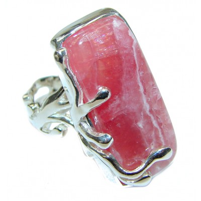 Large Argentinian Rhodochrosite .925 Sterling Silver handmade ring size 7 adjustable
