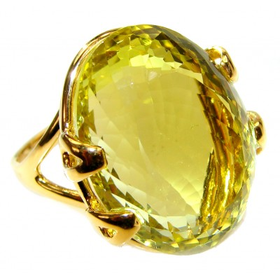 Royal Design 69ct Lemon Topaz 18K yellow Gold .925 Sterling Silver handmade ring size 7 3/4