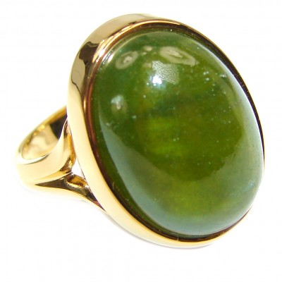 Authentic 16.5ctw Green Tourmaline Yellow gold over .925 Sterling Silver brilliantly handcrafted ring s. 7 1/4