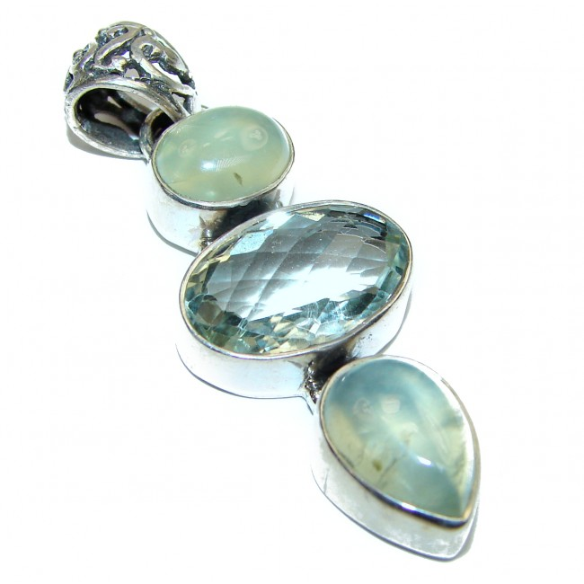 Green Amethyst .925 Sterling Silver Pendant