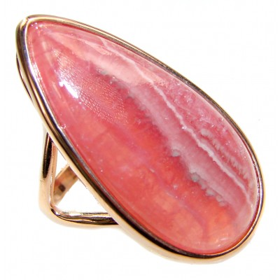 Genuine Argentinian Rhodochrosite 18K Gold over .925 Sterling Silver handcrafted Statement Ring size 10