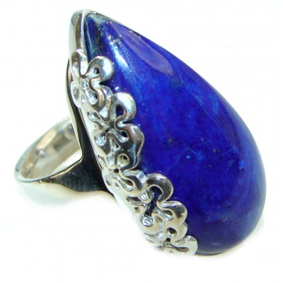 Natural Lapis Lazuli .925 Sterling Silver handcrafted ring size 8 adjustable