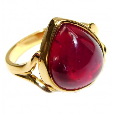 Genuine Ruby 18K yellow Gold over .925 Sterling Silver handmade Cocktail Ring s. 8